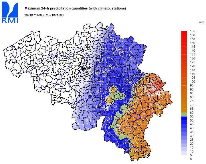 24 hour precipitation amounts, Belgium, 14 July-15 July 2021