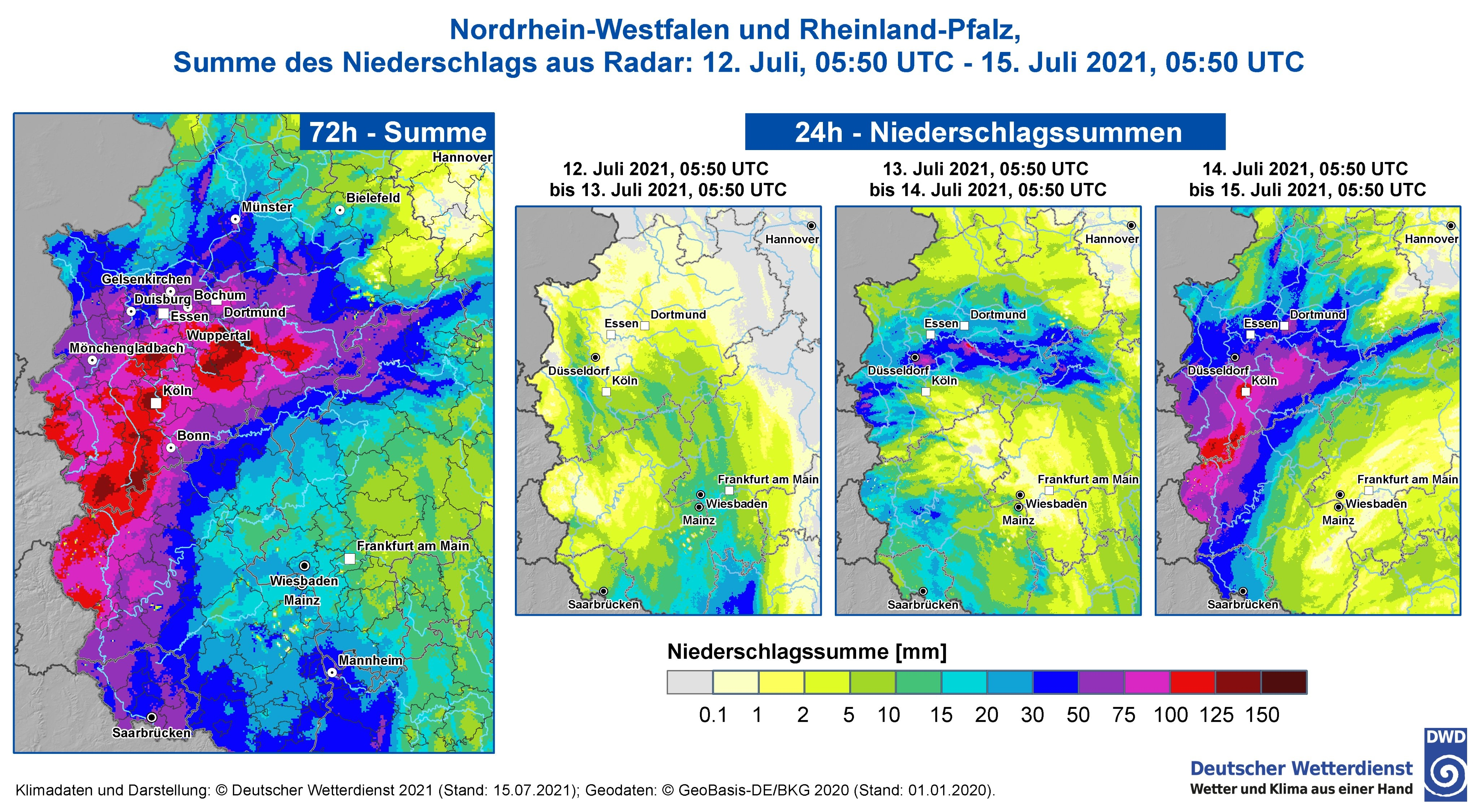 Precipitation accumulations for Germany flooded areas