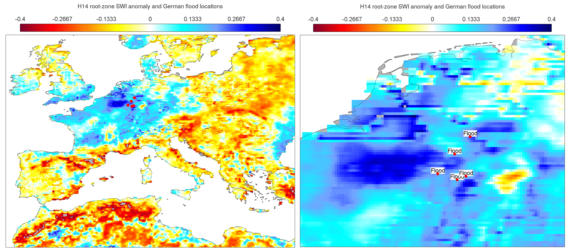 H SAF soil wetness index anomaly 14 July 2021