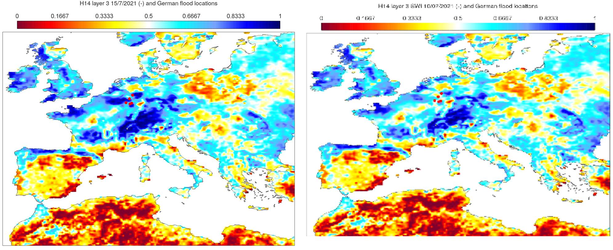 H SAF soil wetness index 10 & 15 July 2021