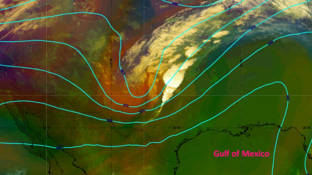 GOES-16 Airmass RGB & ECMWF 500 hPa geopotential, 11 Oct 00:00UTC