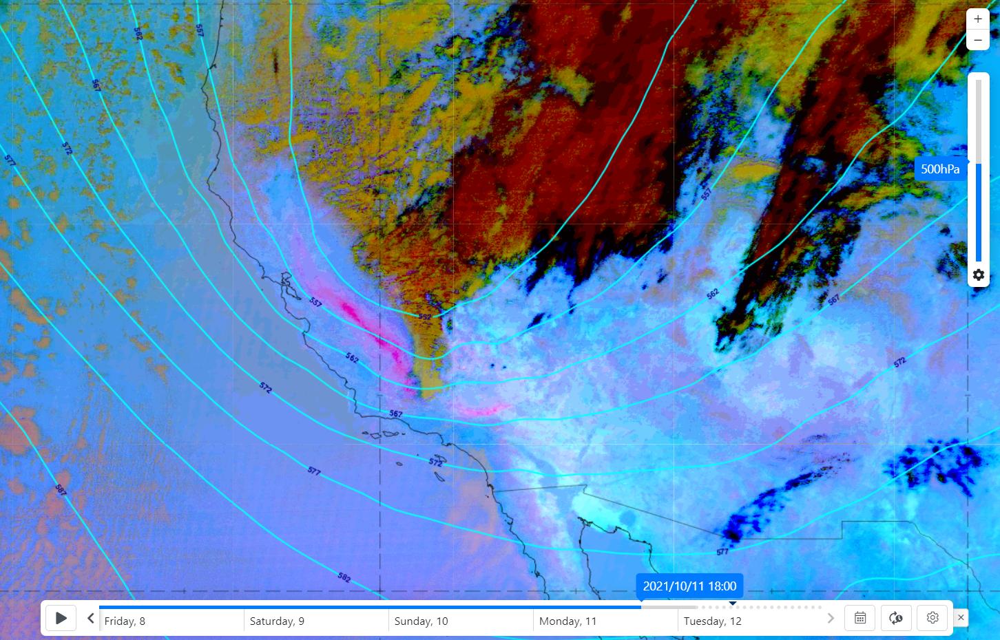 GOES-17 Dust RGB & ECMWF 500 hPa geopotential, 11 October 2021 18:00 UTC