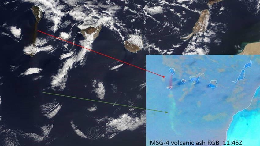 Terra MODIS True Colour RGB at 11:55 UTC, with pasted Meteosat 11 Ash RGB at 11:55 over similar domain, 4 October 2021
