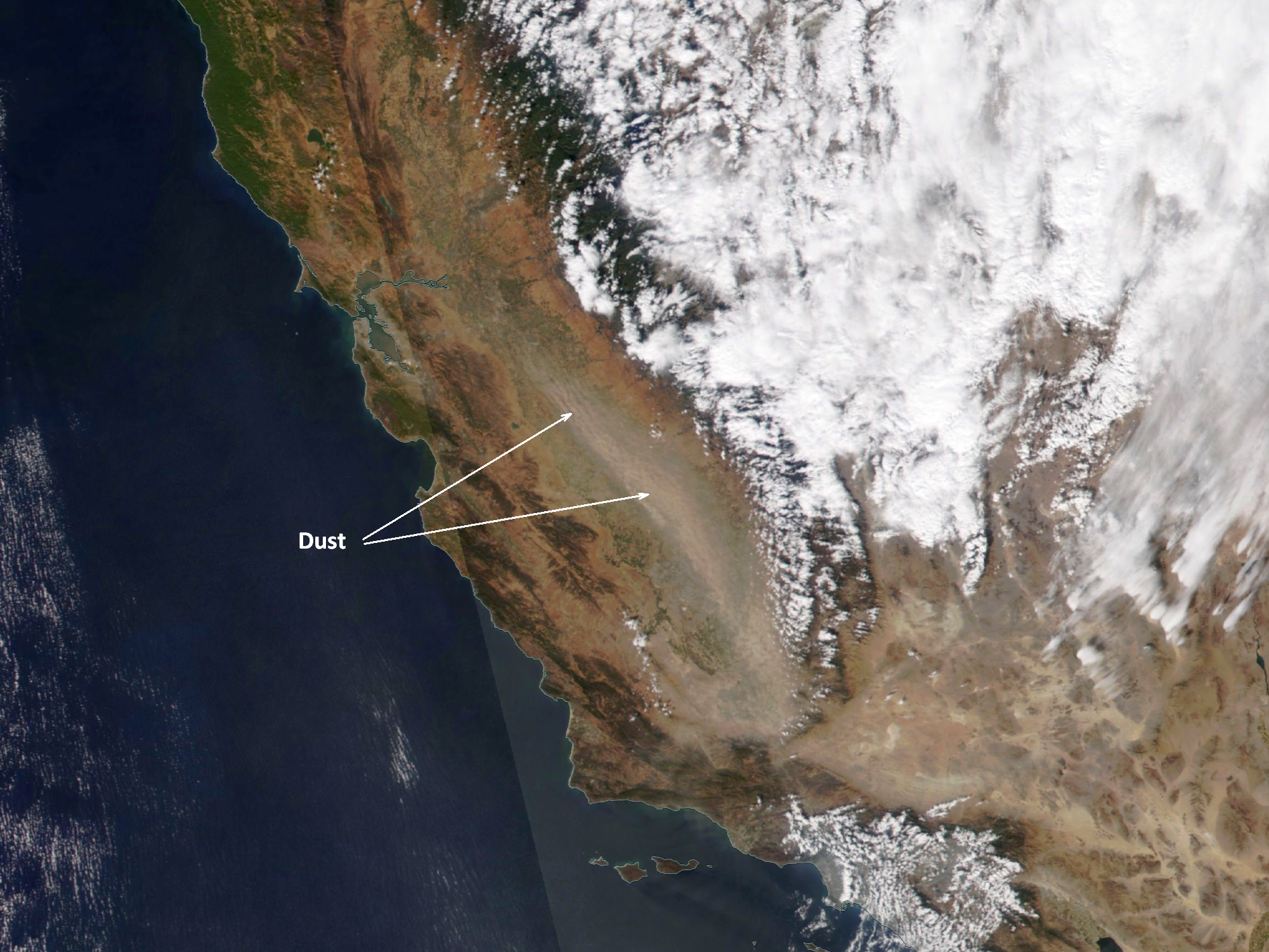 NOAA-20 VIIRS True Color RGB image of the dust outbreak
