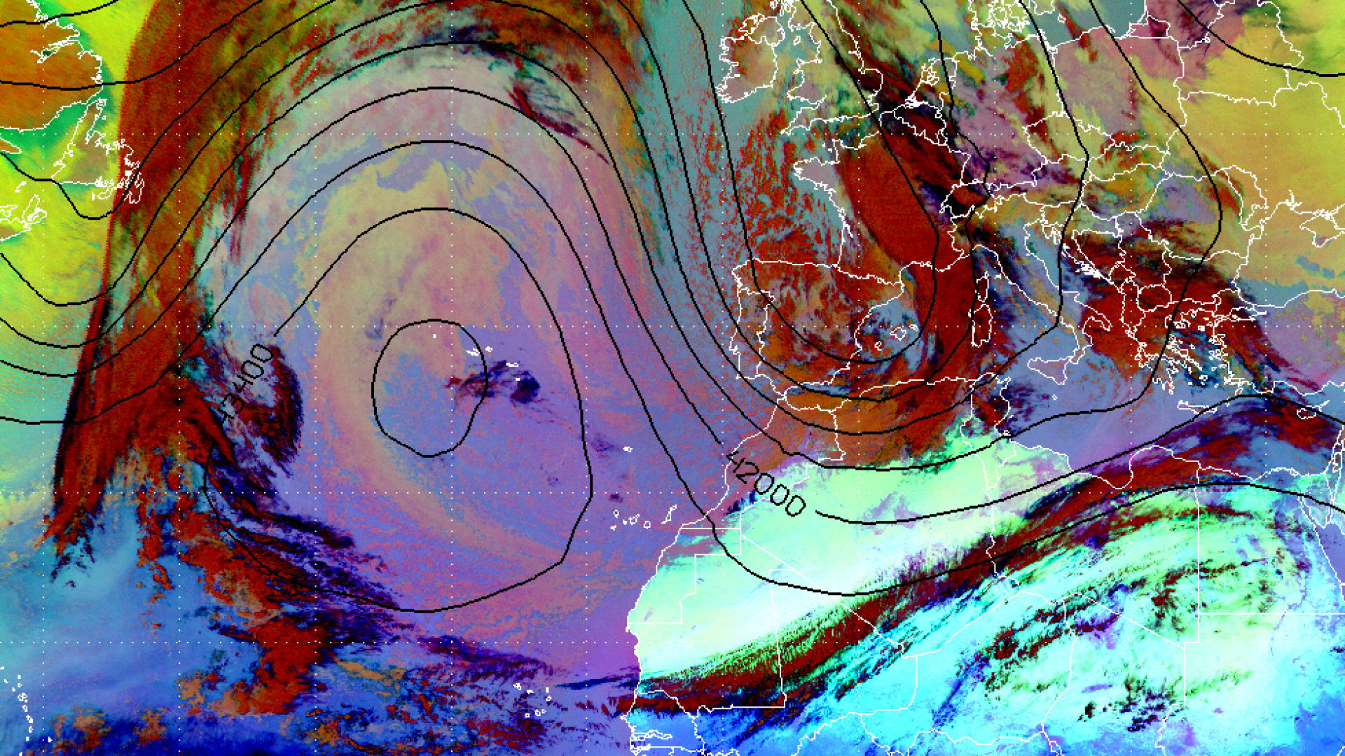 Ridge and trough over the Atlantic and West Europe