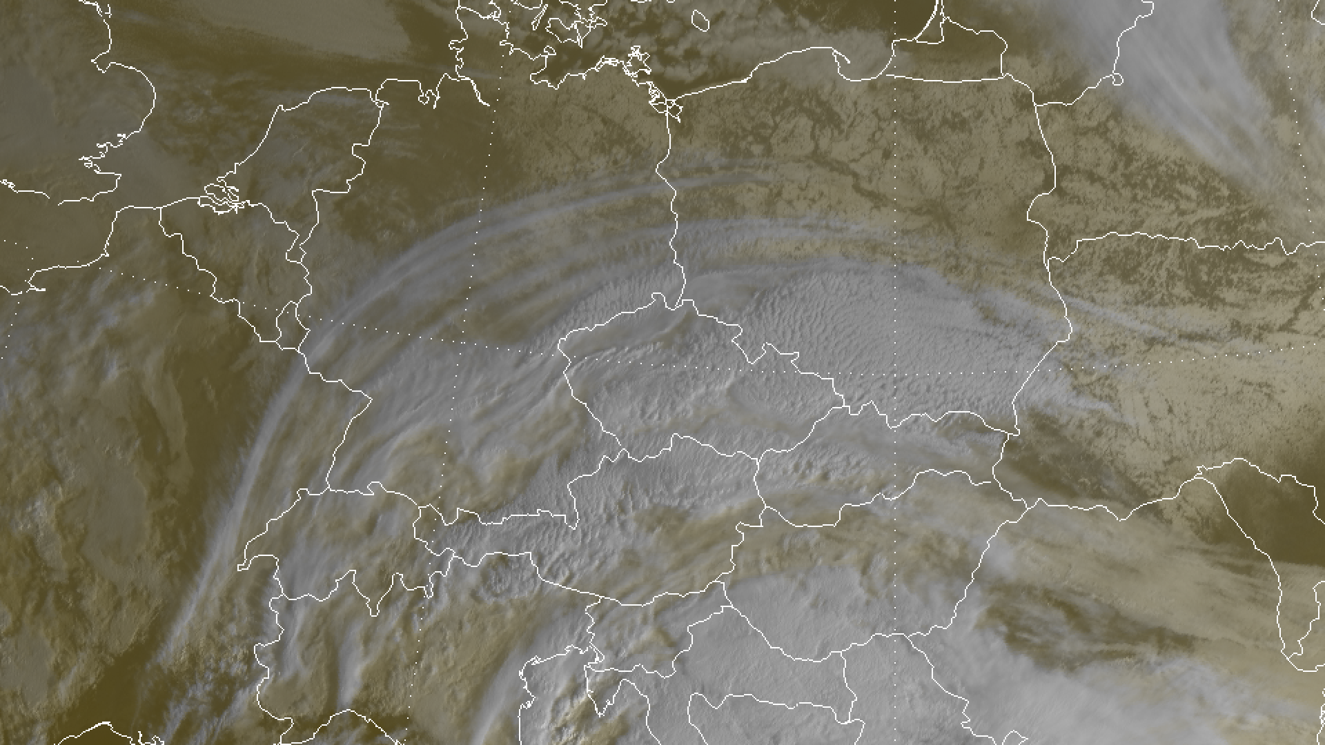 Snow covered Eastern Europe seen through high cloud from a Mediterranean low