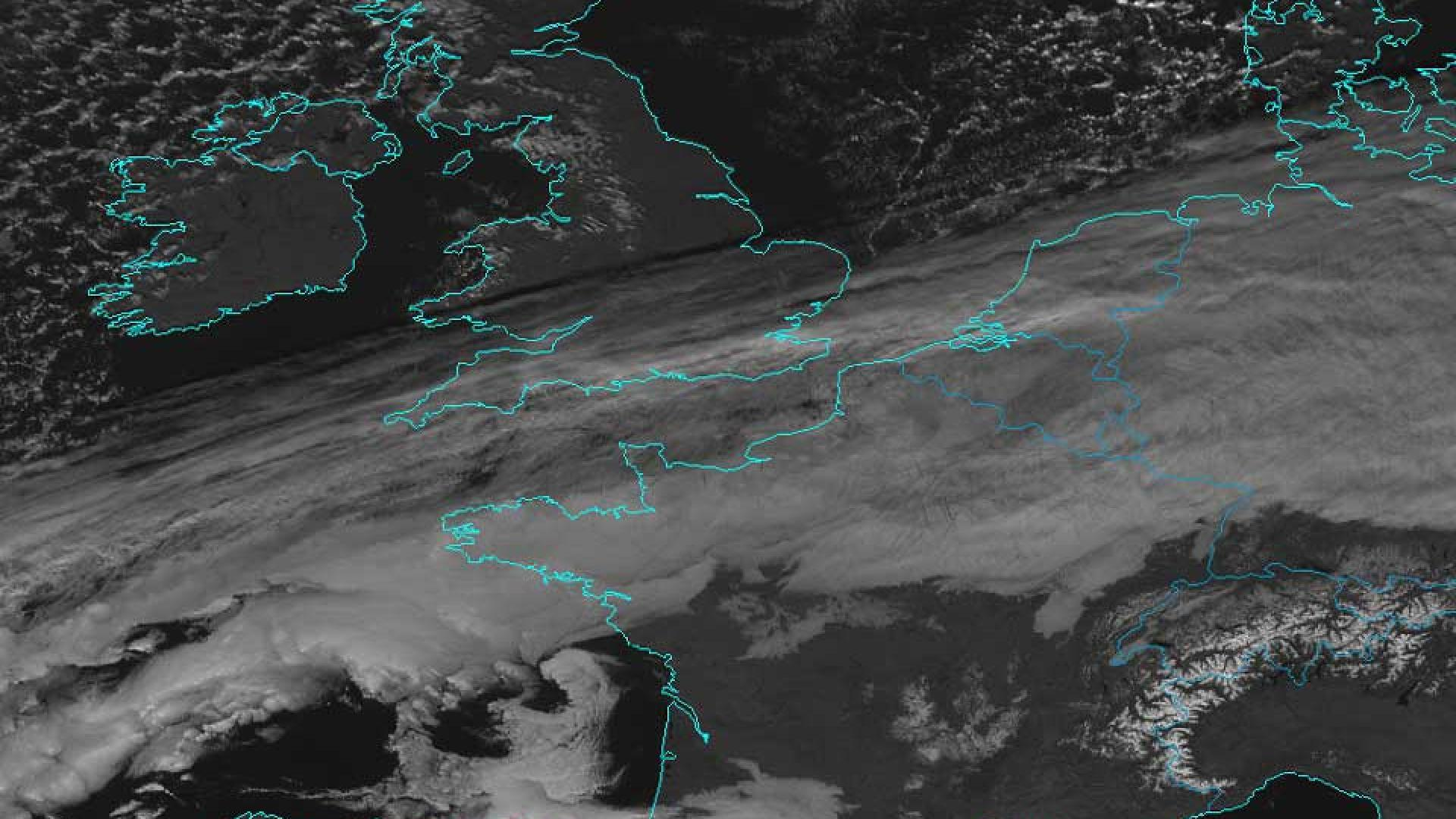 Winter convection over the UK and snow on European mountains