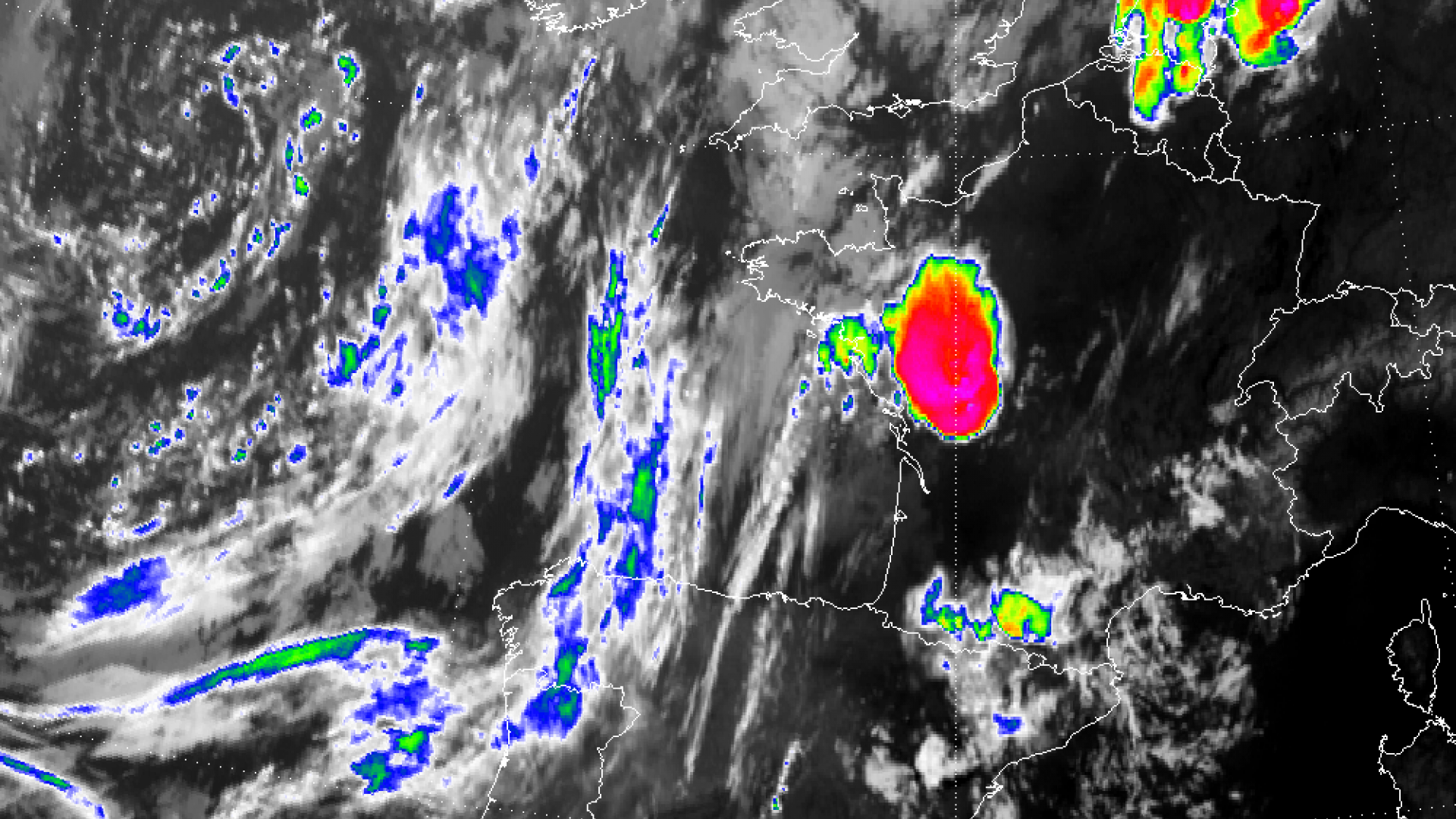 Supercells thunderstorms over parts of France