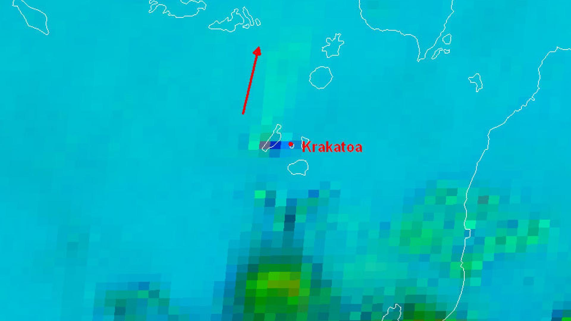 Eruption of Krakatoa viewed under clear skies