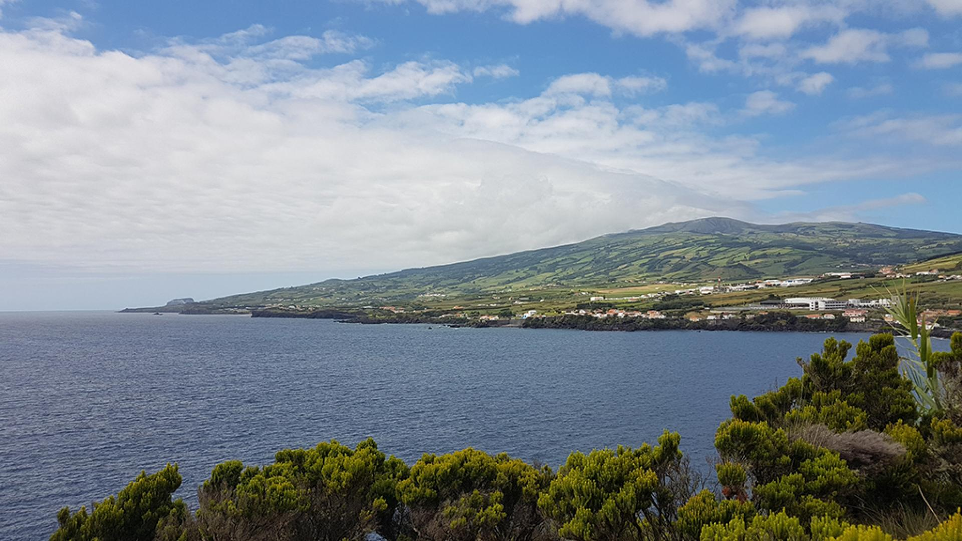 Mount Pico in the Azores shrouded in orographically-induced clouds