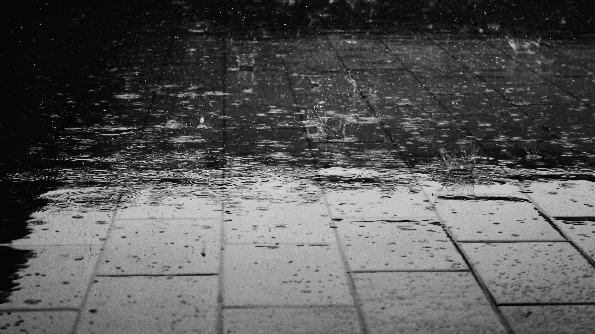Rain on a pavement