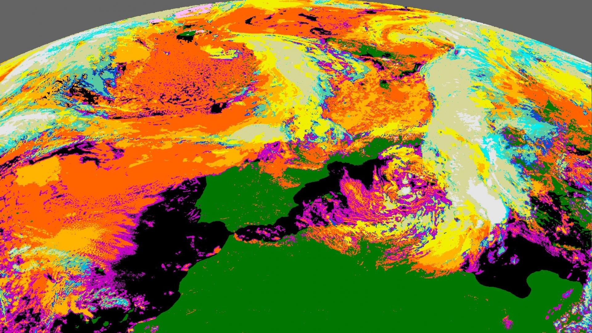 Europe And North-Atlantic Geostationary Cloud Type - MSG - 0 degree