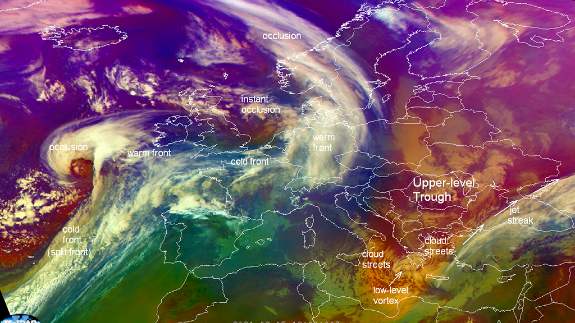Met-11 Airmass RGB, 15 Feb 2021, annotated