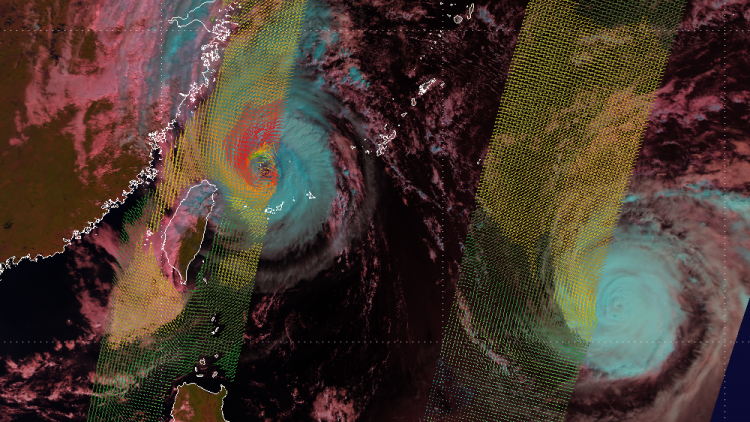 Typhoon twins Danas and Fitow develop over the north-west Pacific