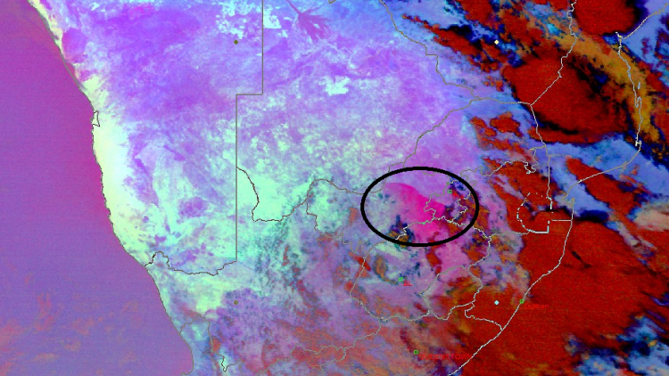 Dust storms over central and north-eastern parts of South Africa