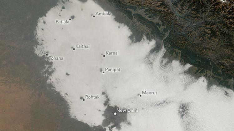 Night-time fog over India