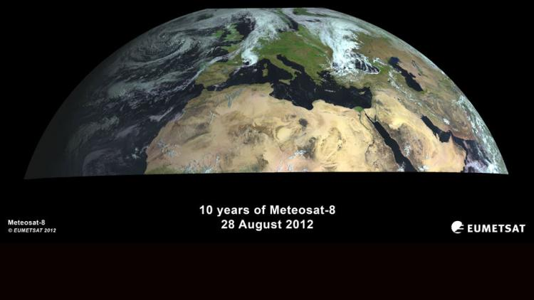 Tenth anniversary image from Meteosat-8
