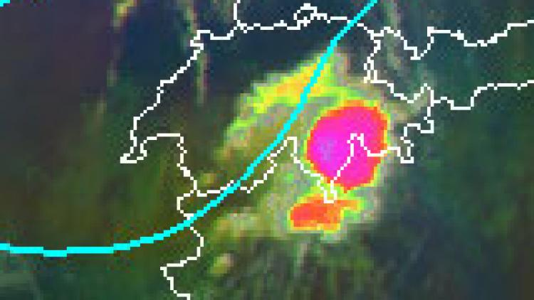 Trough sparks convection over the Alps