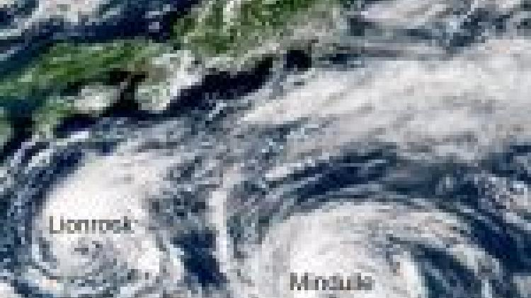 Typhoons Mindulle and Lionrock in the West Pacific