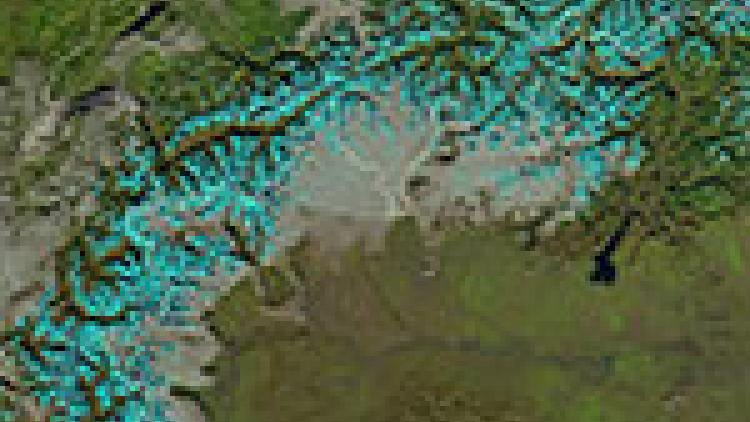 VIIRS double view of snowy Alps