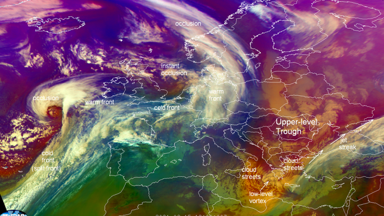 Met-11 Airmass RGB, 15 Feb 2021, annotated