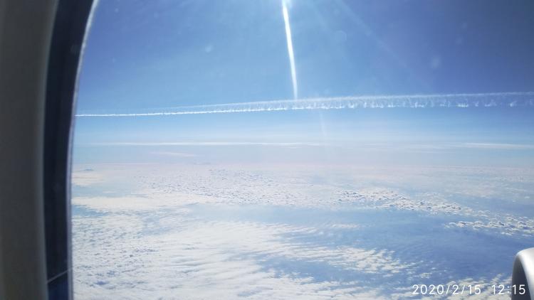 Contrails seen a plane