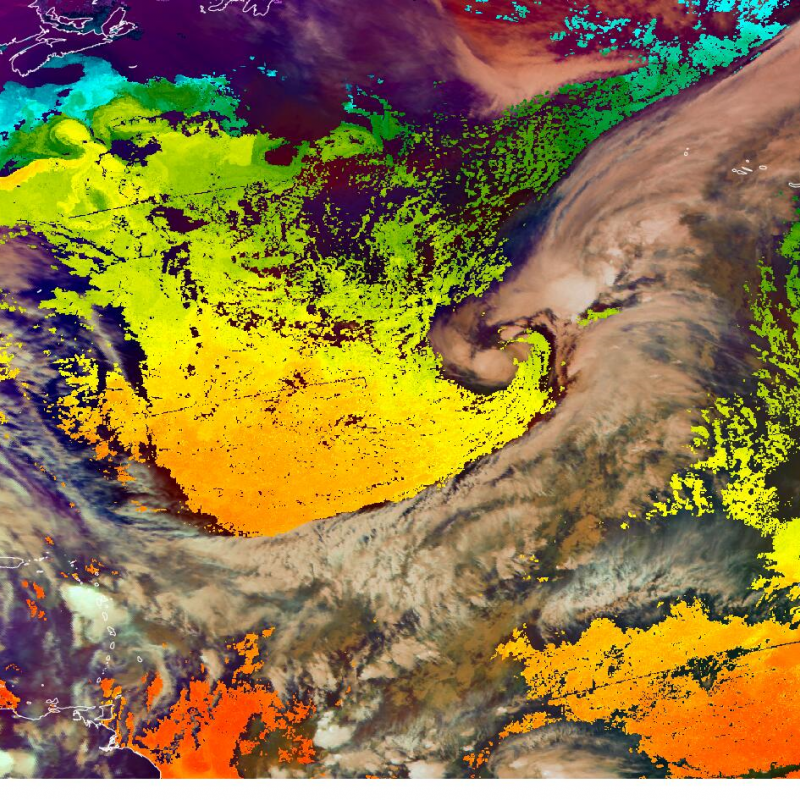Tropical Airmass RGB and the Sea surface temperature from the accumulated products from AVHRR
