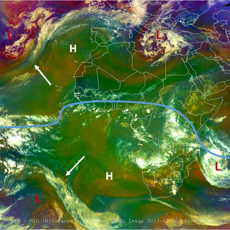 Atmosphere mirroring around the equator