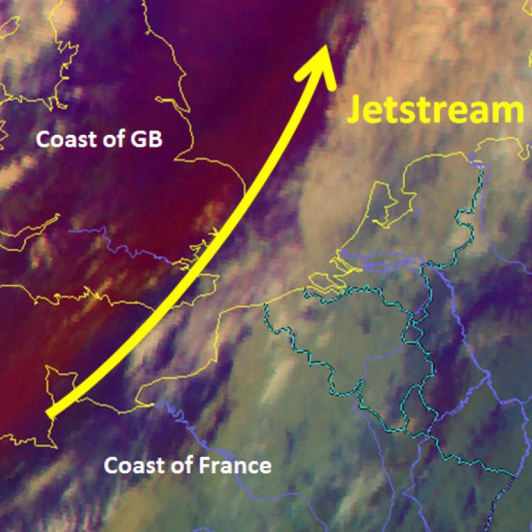 12 Nov. 2018, 12:00 UTC, Airmass RGB with the Jetstream, Source: DWD