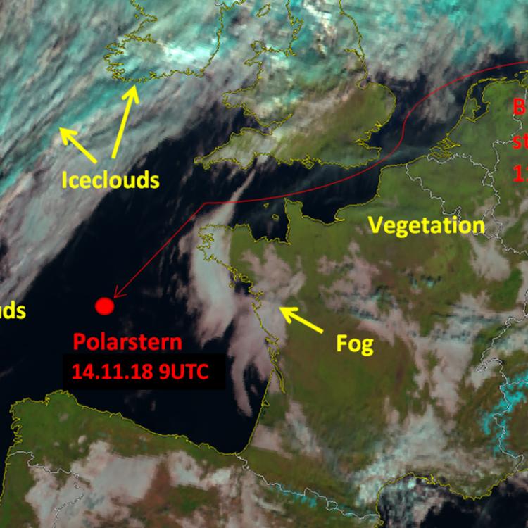 14 Nov 2018, 09:00 UTC, Natural Colour RGB with track of Polarstern, Source: DWD