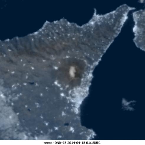 Snowy Etna under full moon