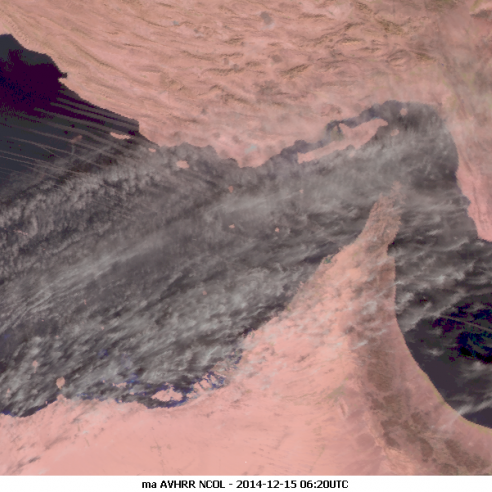 Contrails over the Persian Gulf