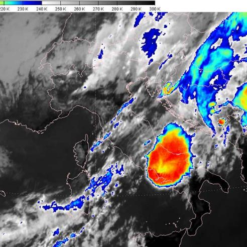 Massive storms over Italy and the Mediterranean Sea