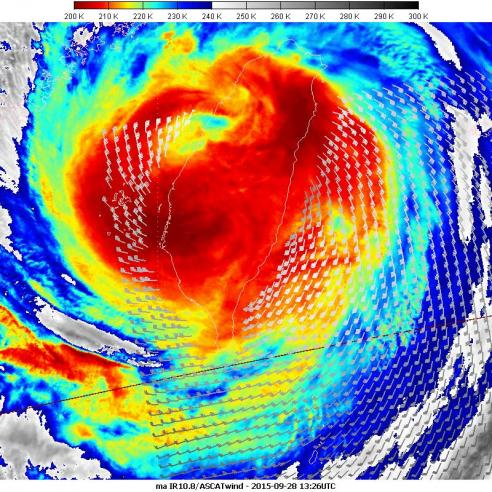 ASCAT winds over Typhoon Dujuan