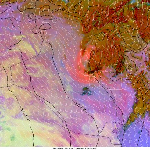 Colour-changing dust cloud vortex