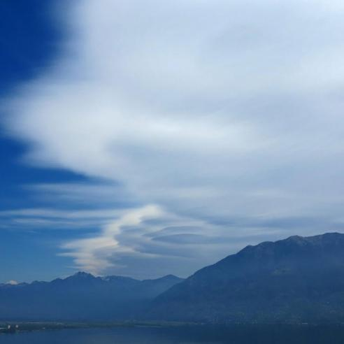 Wave clouds along the south side of the Alps