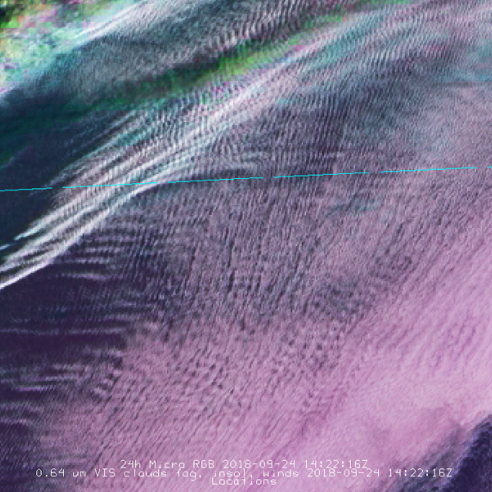 Crisscross small-scale cloud wave patterns over the American Midwest
