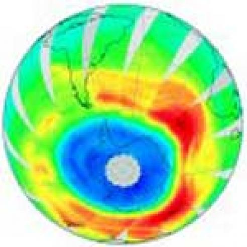 Annual ozone hole over the Antarctic