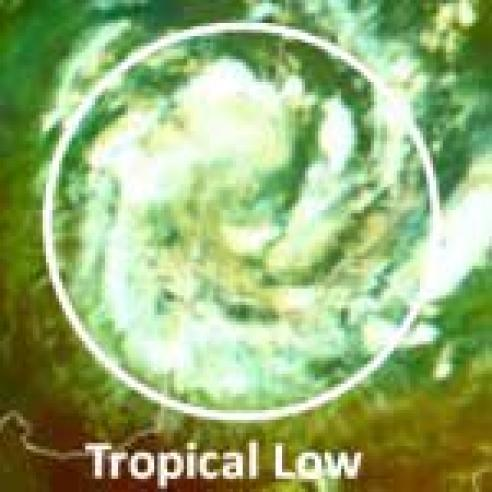 Tropical Low over Namibia-Botswana border area