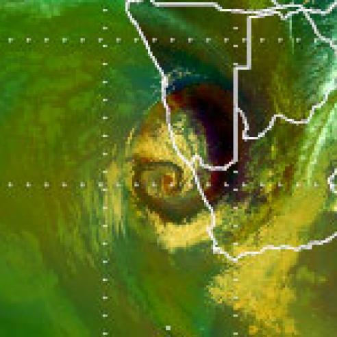 Upper-level low off coast of South Africa and Namibia