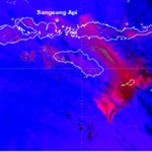 Eruption of Sangeang Api volcano