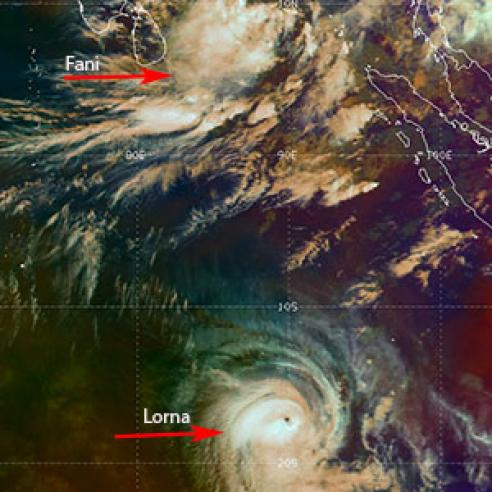 Rare sighting of two tropical cyclones on same longitude