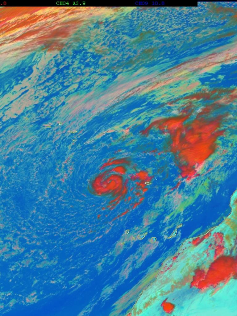 Unusual hurricane formation in the Northeast Atlantic