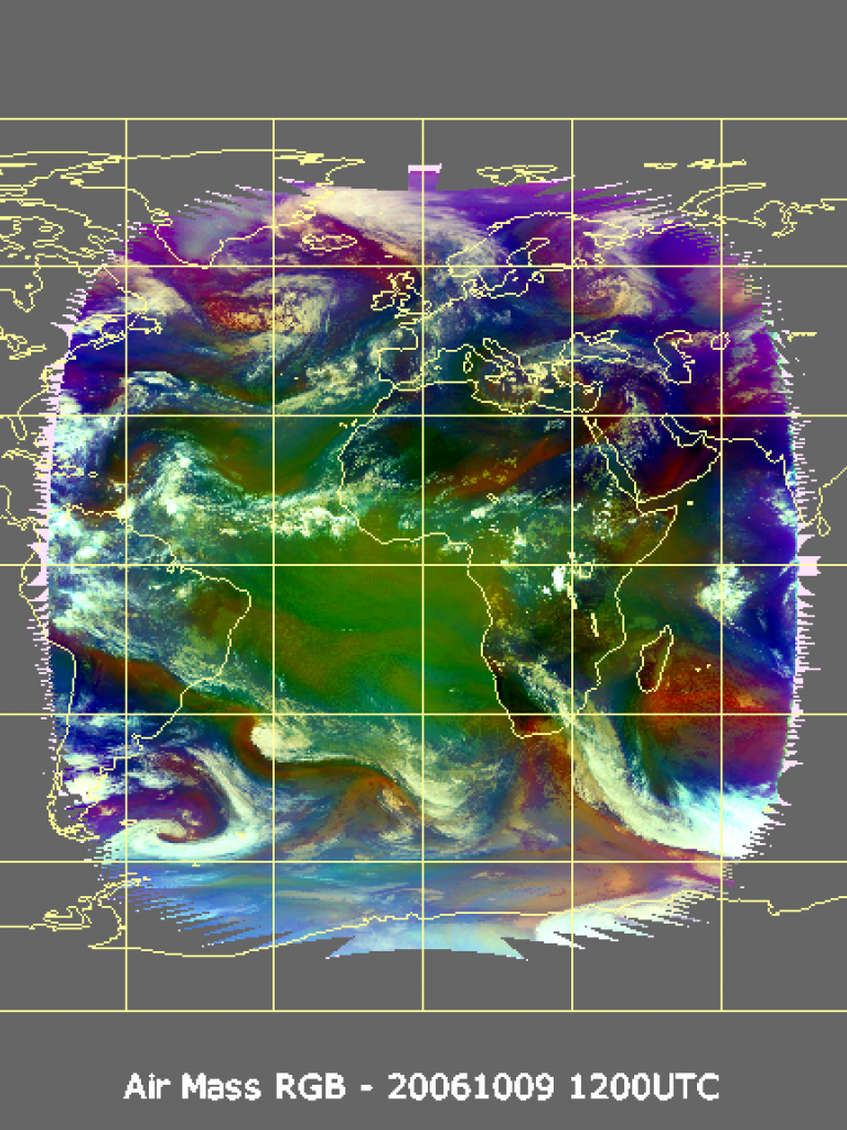 Global ozone distribution in relation to the Airmass RGB