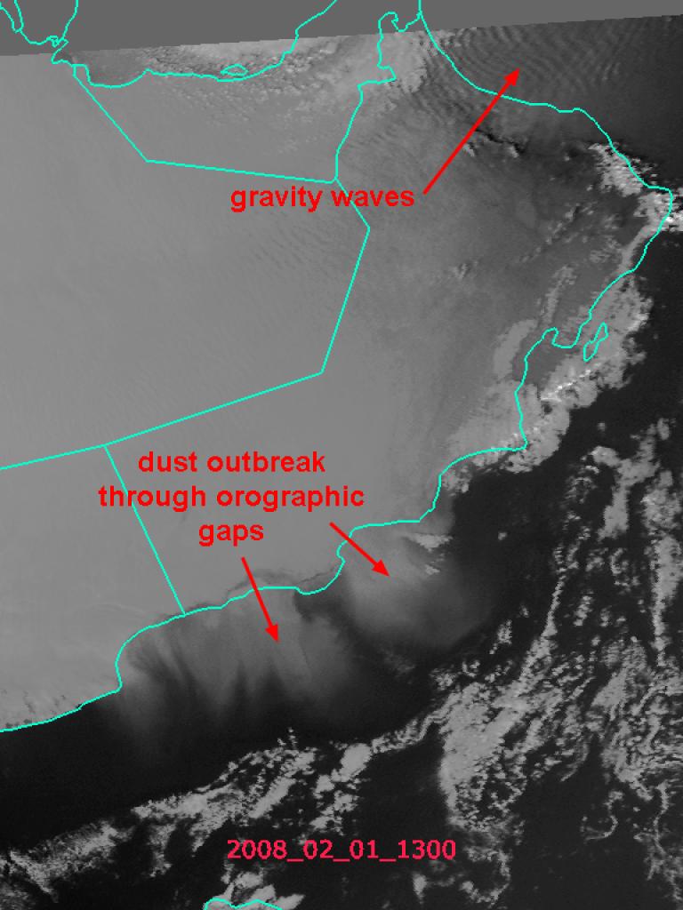 Dust crossing the Gulf of Aden