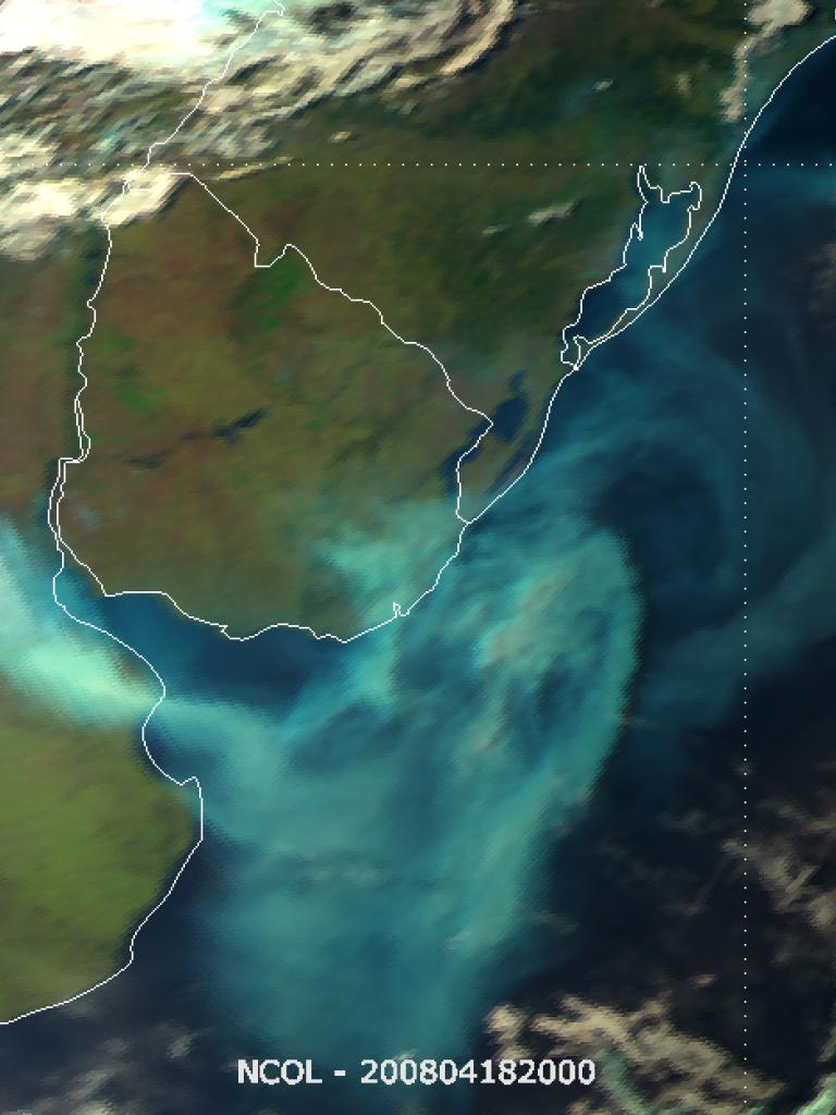 Dense smoke over Argentina and Uruguay