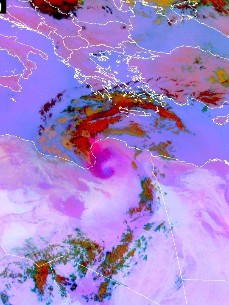 Dust swirl over Libya and Egypt