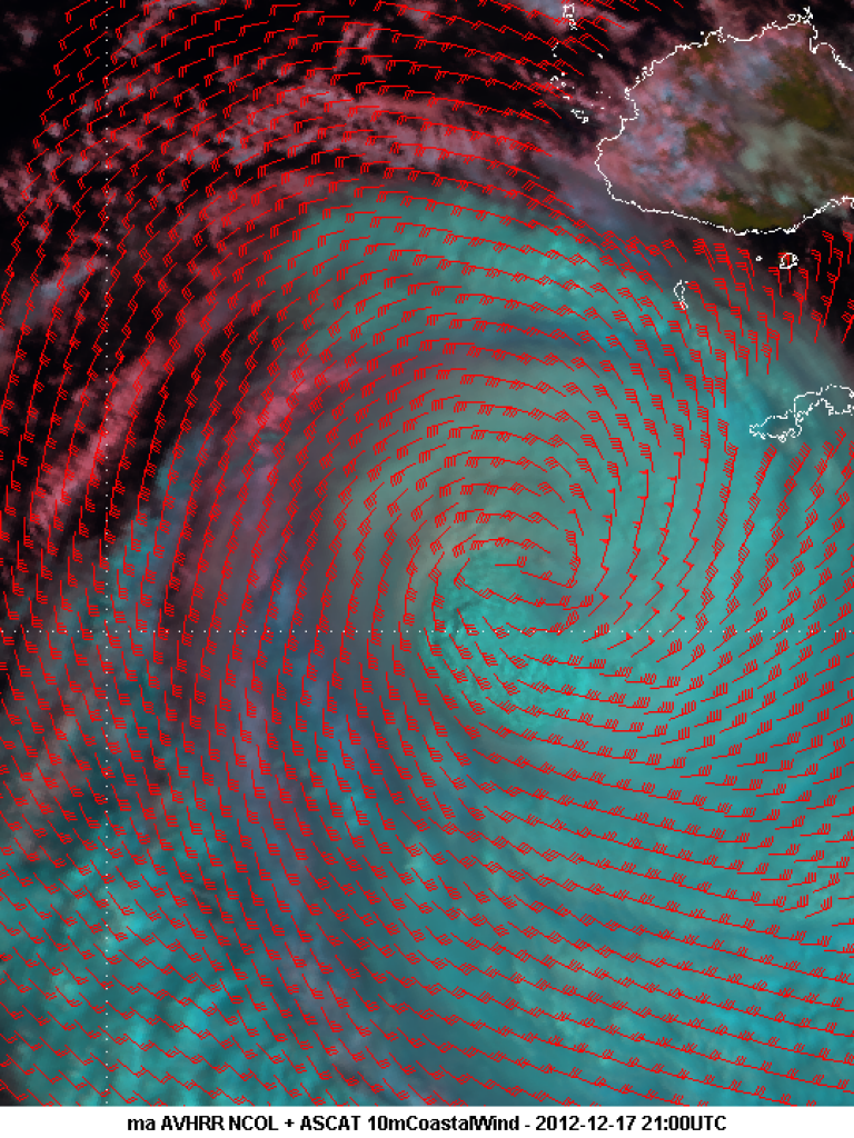 ASCAT winds show strength of Cyclone Evan