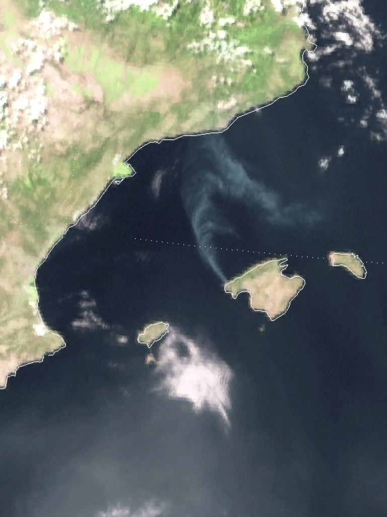 Smoke plume from fire in Mallorca seen by Meteosat-10