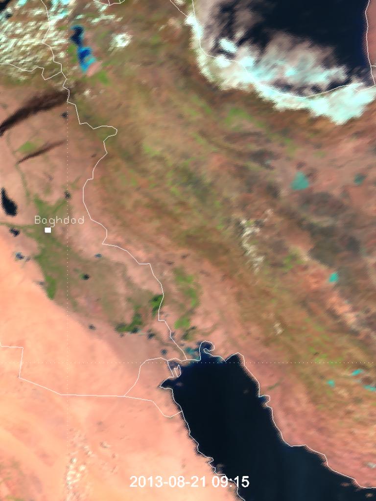 Oil fires in Iraq seen by Meteosat-10